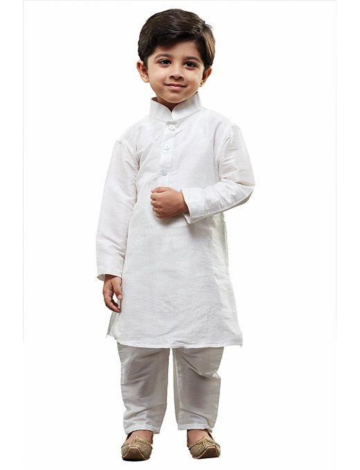 Boys' White Cotton Silk Kurta and Pyjama Set