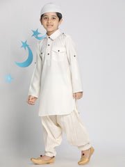 Vastramay Boys' Cream Pathani Suit Set