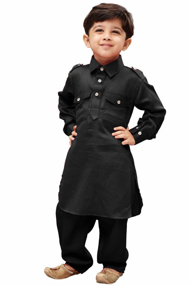Boys' Black Cotton Pathani