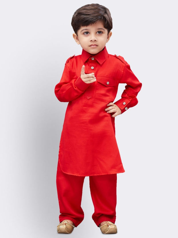 Boys' Red Cotton Pathani