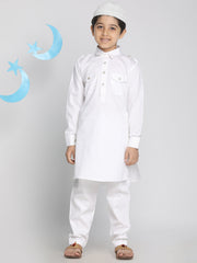 Vastramay Boys' White Pathani Suit Set