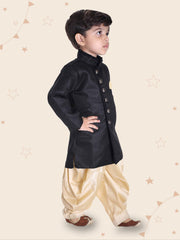 Boys' Black Cotton Blend Sherwani