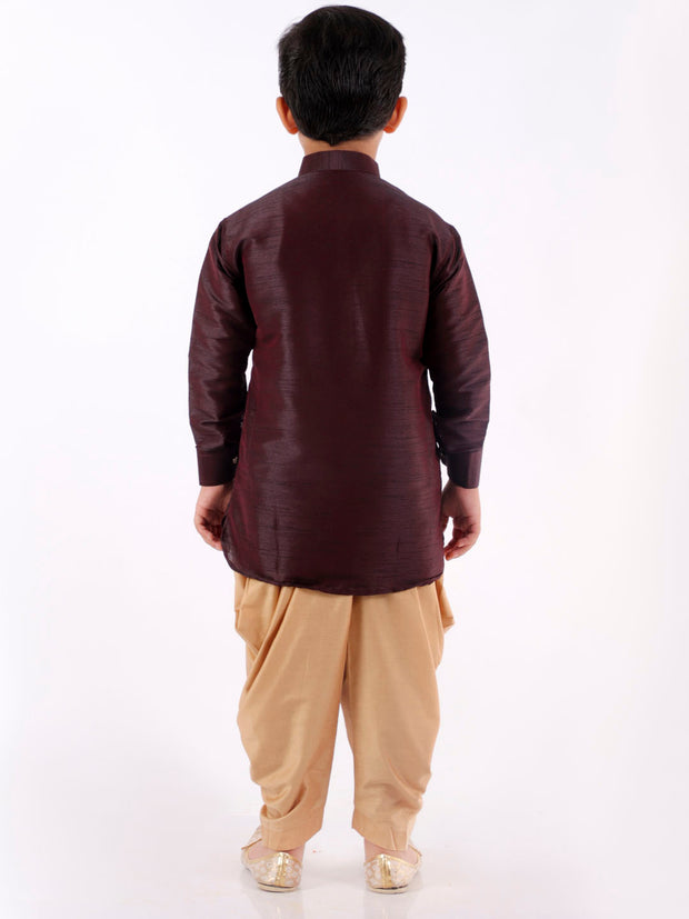 JBN Creation Boys' Wine Cotton Silk Blend Kurta and Dhoti Pant Set
