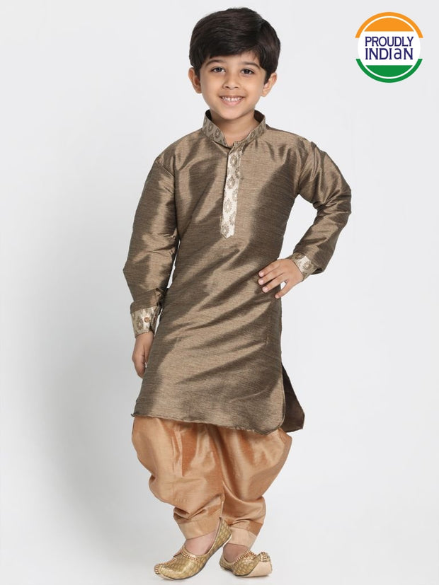 Boys' Gold Cotton Silk Blend Kurta and Dhoti Pant Set