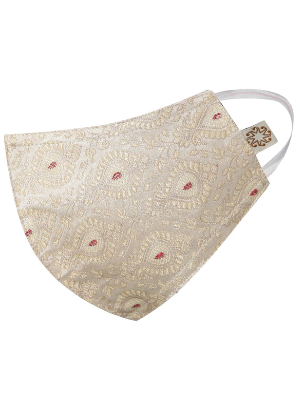 Vastramay Unisex 3 -Ply Banarasi Brocade Reusable Anti-Pollution Comfortable Half Face, Ear Loop Cotton Wellness Mask