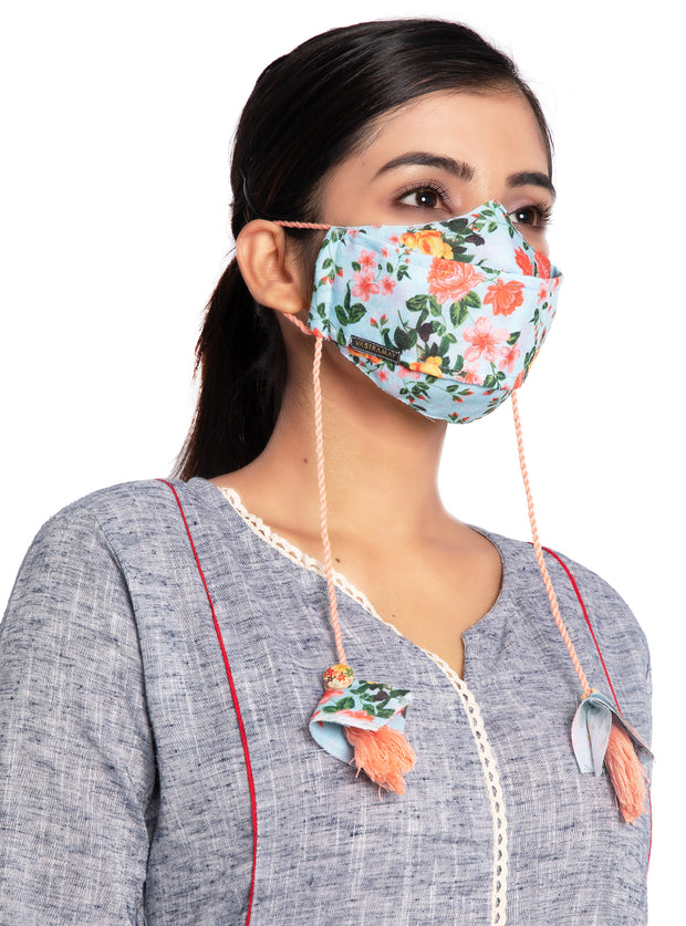 Vastramay Floral Printed Reusable Anti-Pollution, Cotton Dori Ear Loop and Choti plus Tassels Style Welness Mask in Green with a Natural Fibre Potli Bag  - Pack of 1