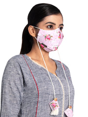 Vastramay Floral Printed Reusable Anti-Pollution, Cotton Dori Ear Loop and Choti plus Tassels Style Welness Mask in Pink with a Natural Fibre Potli Bag  - Pack of 1