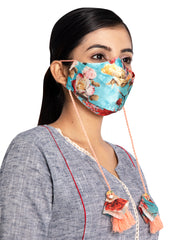Vastramay Floral Printed Reusable Anti-Pollution, Cotton Dori Ear Loop and Choti plus Tassels Style Welness Mask in Blue with a Natural Fibre Potli Bag  - Pack of 1