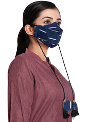 Vastramay Ikkat Printed Reusable Anti-Pollution, Cotton Dori Ear Loop and Choti plus Tassels Style Welness Mask in Blue with a Natural Fibre Potli Bag  - Pack of 1