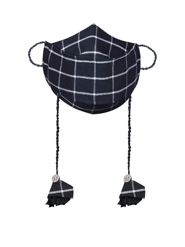 Vastramay Checkered Reusable Anti-Pollution, Cotton Dori Ear Loop and Choti plus Tassels Style Welness Mask in Black with a Natural Fibre Potli Bag  - Pack of 1