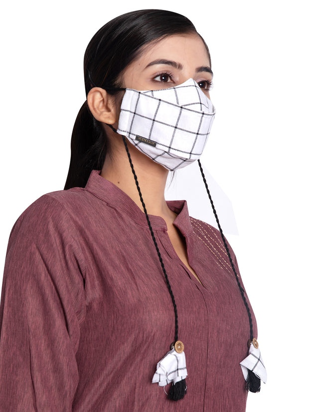 Vastramay Checkered Reusable Anti-Pollution, Cotton Dori Ear Loop and Choti plus Tassels Style Welness Mask in White with a Natural Fibre Potli Bag  - Pack of 1