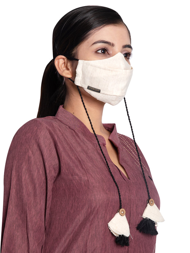 Vastramay Self Design Reusable Anti-Pollution, Cotton Dori Ear Loop and Choti plus Tassels Style Welness Mask in Beige with a Natural Fibre Potli Bag  - Pack of 1