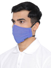 Vastramay Unisex 3 -Ply Solid Reusable Anti-Pollution, Comfortable Large Coverage with Head Band Wellness Biker Masks in Blue - Pack of 1