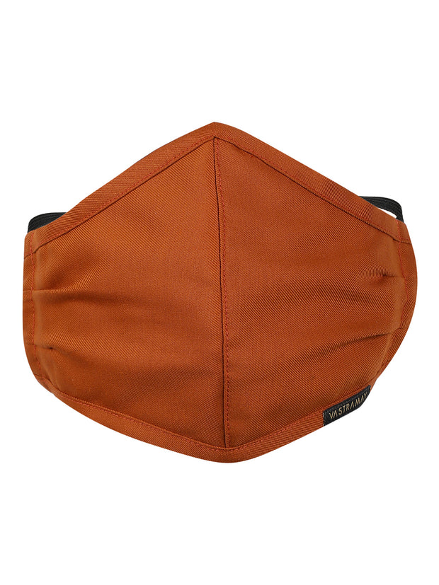Vastramay Unisex 3 -Ply Solid Reusable Anti-Pollution, Comfortable Large Coverage with Head Band Wellness Biker Masks in Orange - Pack of 1