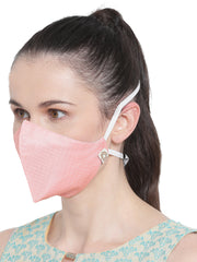 Vastramay Unisex 3 -Ply Self Design Reusable Anti-Pollution, Comfortable Large Coverage with Head Band Wellness Masks in Pink - Pack of 1