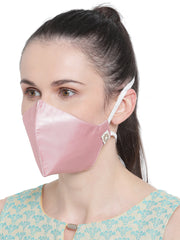 Vastramay Unisex 3 -Ply Solid Reusable Anti-Pollution, Comfortable Large Coverage with Head Band Wellness Masks in Pink - Pack of 1
