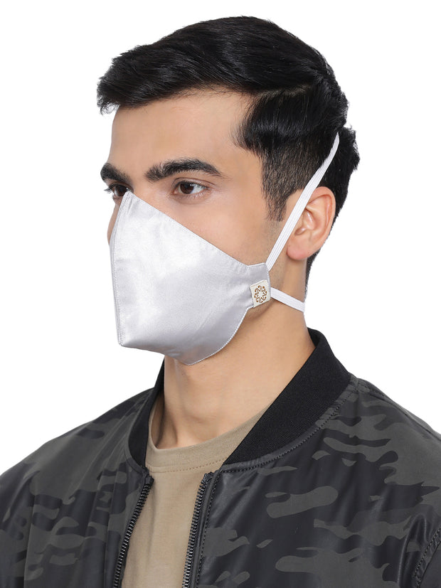 Vastramay Unisex 3 -Ply Solid Reusable Anti-Pollution, Comfortable Large Coverage with Head Band Wellness Masks in Silver - Pack of 1