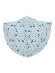 Vastramay Unisex 3 -Ply Geometric Printed Reusable Anti-Pollution Comfortable Half Face, Ear Loop Cotton Wellness Mask