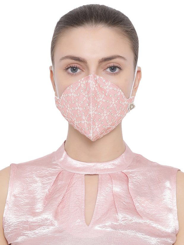 Vastramay Unisex 4 -Ply Embroidered Reusable Anti-Pollution, Comfortable Large Coverage with Ear Loops Wellness Masks in Pink - Pack of 1