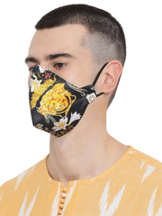 Vastramay Unisex 4 -Ply Abstract Printed Reusable Anti-Pollution, Comfortable Large Coverage with Ear Loop Wellness Masks in Black - Pack of 1