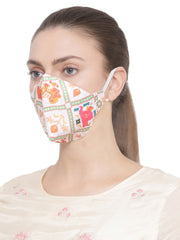 Vastramay Unisex 4 - Ply Digital Printed Reusable Anti-Pollution, Ear Loops Wellness Mask in White - Pack of 1