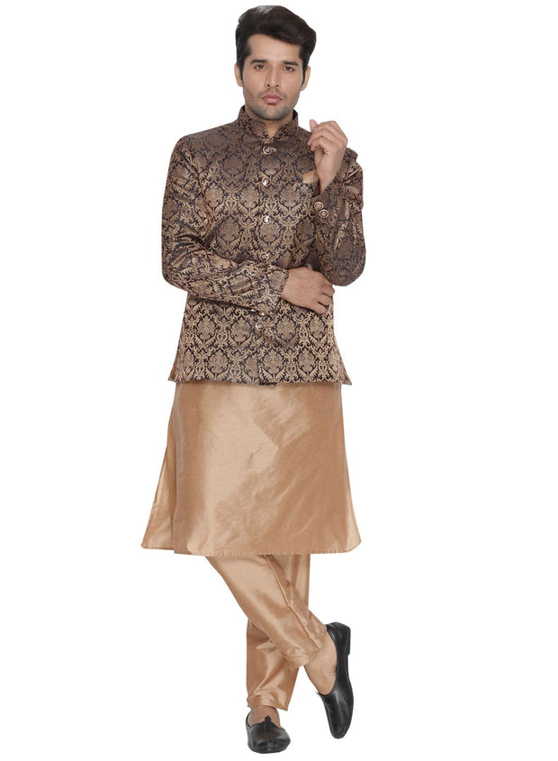 Men's Brown Silk Blend Prince Coat