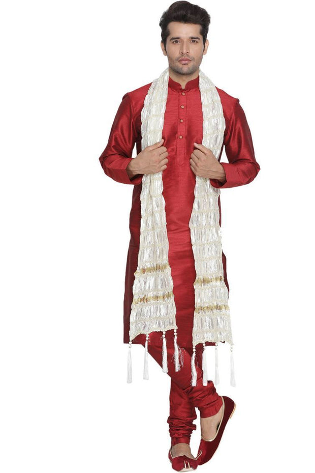 Men's White Viscose Dupatta