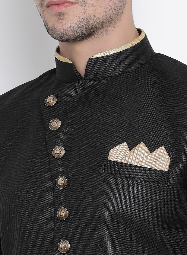 Men's Black Silk Blend Kurta and Dhoti Pant Set