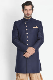 Men's Dark Blue Silk Blend Sherwani Only Top