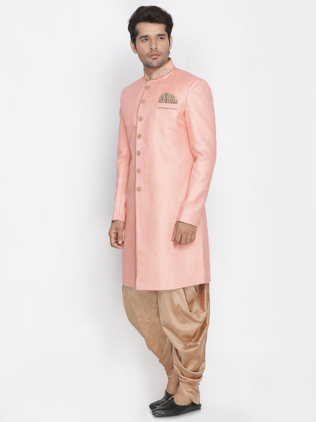 Men's Pink Jute Cotton Blend Sherwani Set