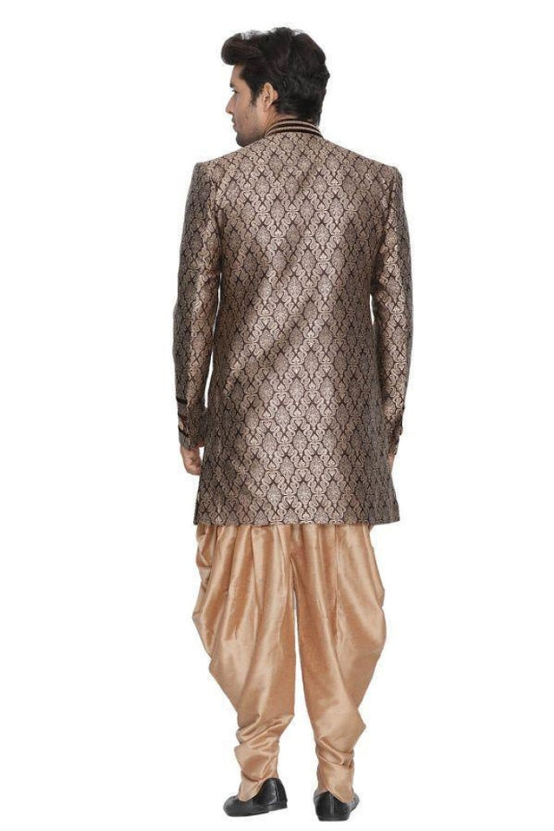 Men's Brown Cotton Silk Blend Sherwani Set