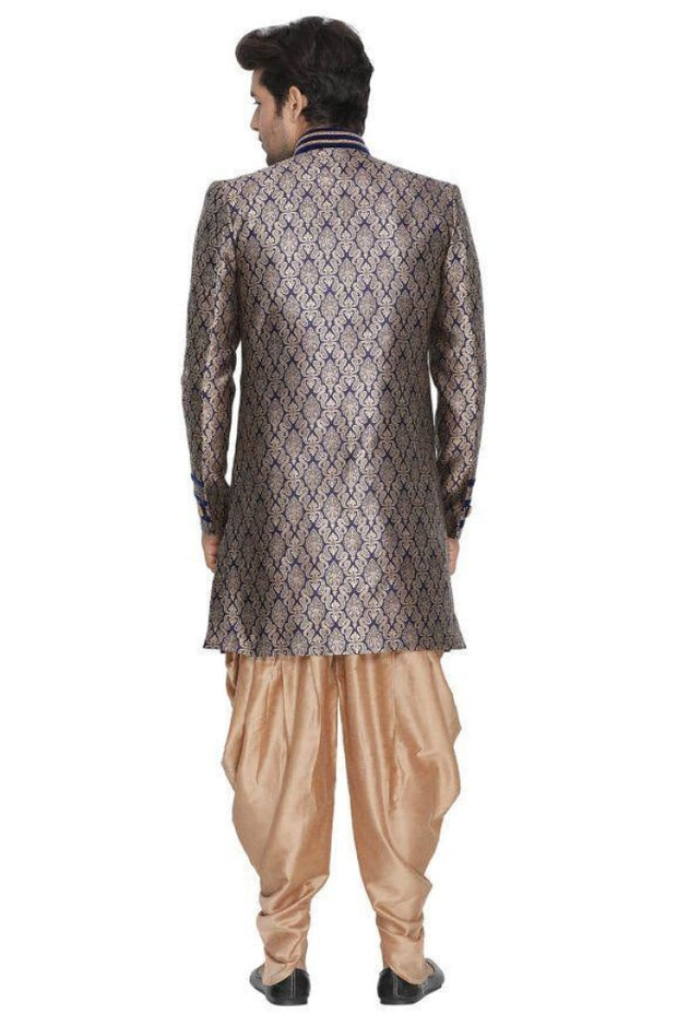 Men's Blue Cotton Silk Blend Sherwani Set