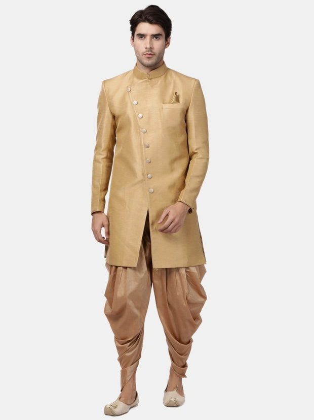 Men's Beige Silk Blend Sherwani Only Top