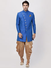 Men's Blue Silk Blend Sherwani Only Top