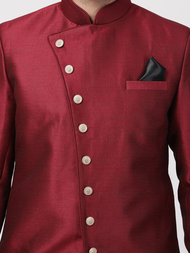 Men's Maroon Silk Blend Sherwani Only Top