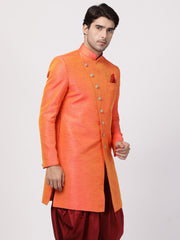 Men's Orange Silk Blend Sherwani Only Top