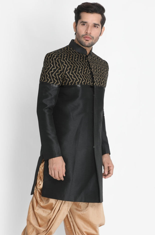 Men's Black Silk Blend Sherwani Only Top