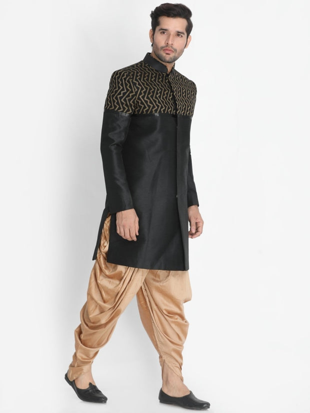 Men's Black Silk Blend Sherwani Set