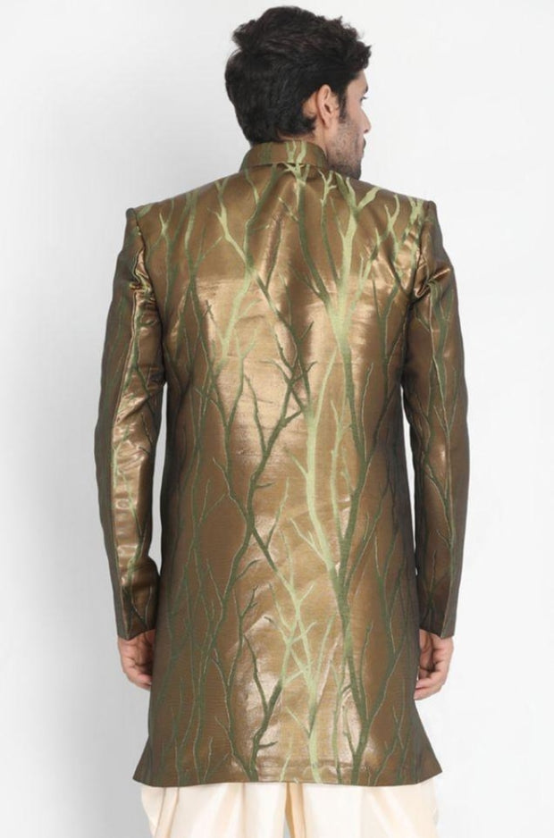 Men's Brown Silk Blend Sherwani Only Top