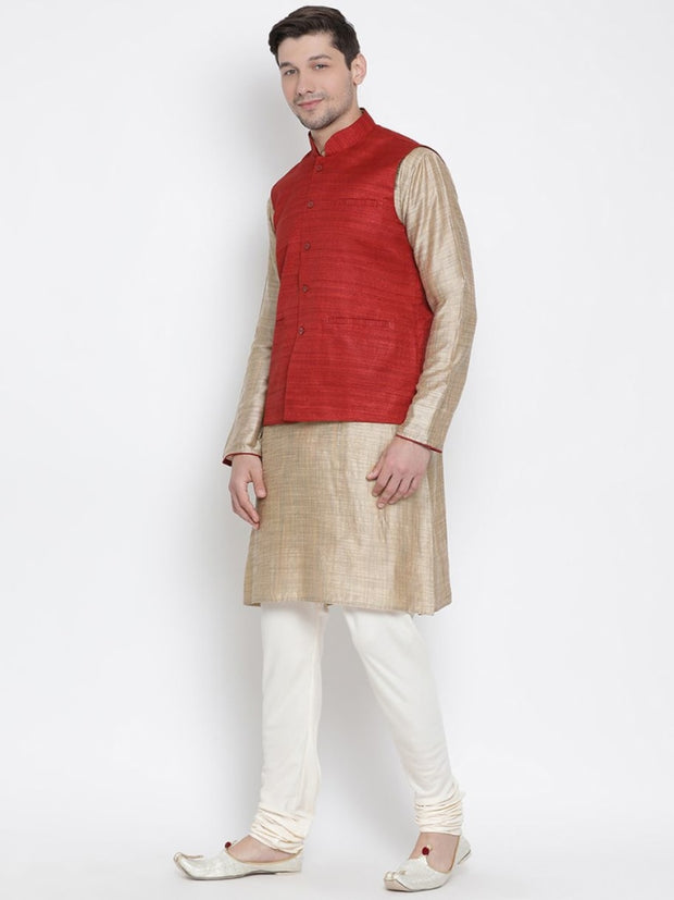 Men's Beige Cotton Silk Blend Kurta, Ethnic Jacket and Pyjama Set