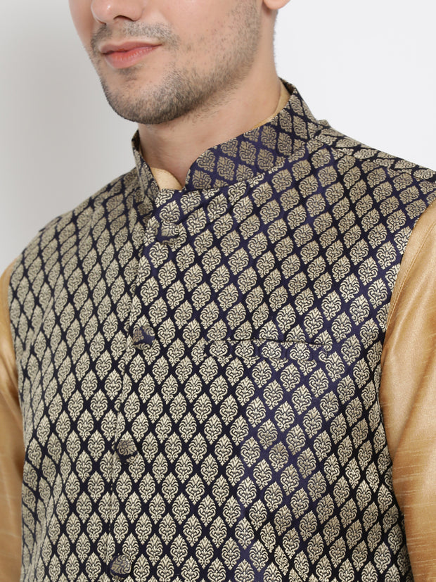 Men's Gold Cotton Silk Blend Ethnic Jacket, Kurta and Dhoti Pant Set