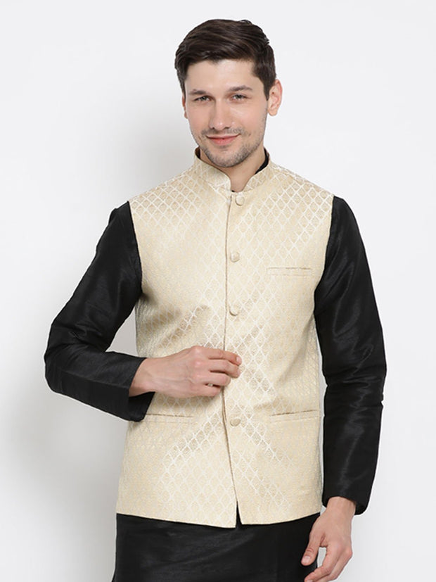 Men's White Cotton Silk Blend Ethnic Jacket