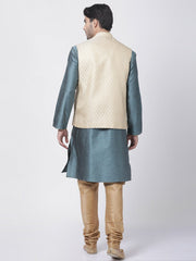 Men's Light Blue Cotton Silk Blend Kurta, Ethnic Jacket and Pyjama Set