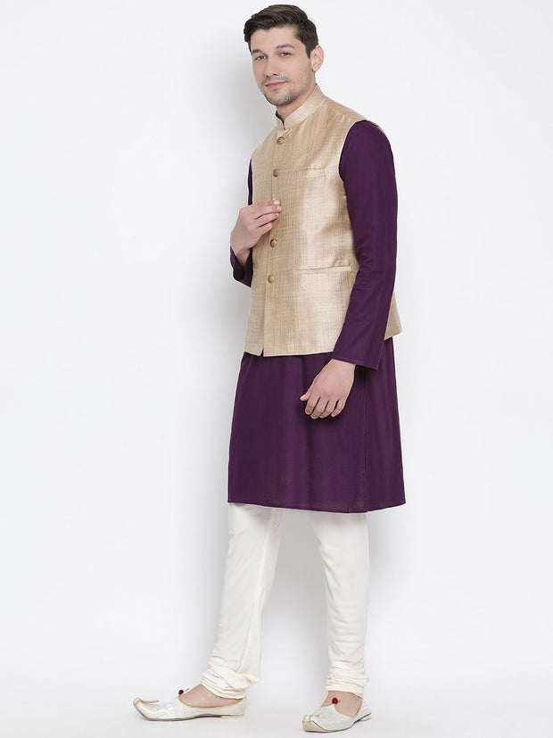 Men's Purple Cotton Blend Kurta, Ethnic Jacket and Pyjama Set