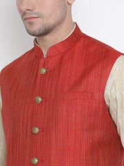 Men's Beige Cotton Blend Kurta, Ethnic Jacket and Pyjama Set
