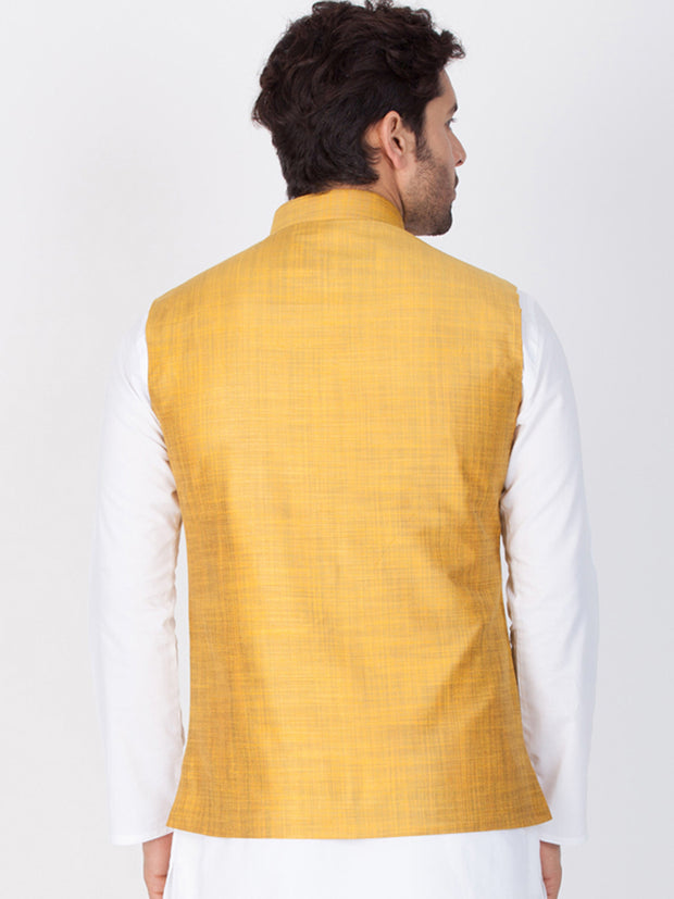 Men's Gold Cotton Blend Ethnic Jacket