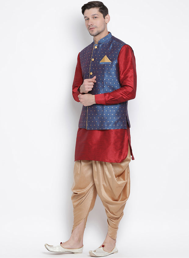 Men's Maroon Cotton Silk Blend Ethnic Jacket, Kurta and Dhoti Pant Set
