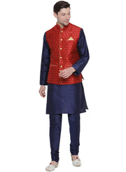 Men's Dark Blue Cotton Silk Blend Kurta, Ethnic Jacket and Pyjama Set