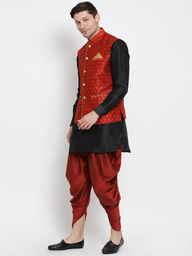 Men's Black Cotton Silk Blend Ethnic Jacket, Kurta and Dhoti Pant Set