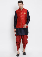 Men's Dark Blue Cotton Silk Blend Ethnic Jacket, Kurta and Dhoti Pant Set
